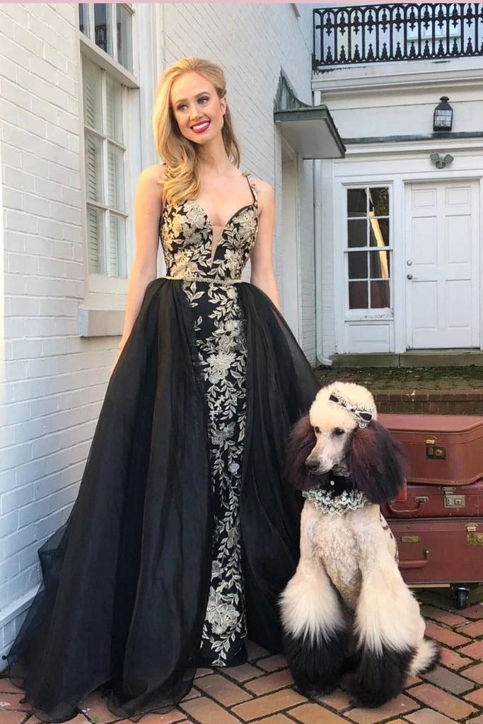 Mermaid V Neck Gold and Black Long Prom Dresses With Appliques, Formal Gowns P1386