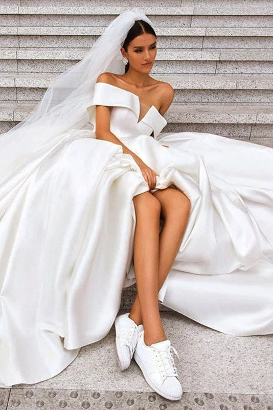 Ball Gown Off the Shoulder White Satin Wedding Dresses, Simple Cheap Wedding Gowns W1163