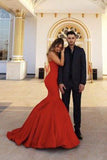 Red Chic Sweetheart Strapless Sleeveless Mermaid Satin Prom Dresses uk PM761