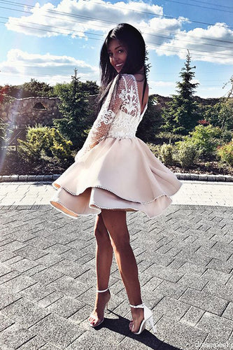 Cute A Line Round Neck White Lace Long Sleeves Satin Short Homecoming Dresses uk PH934