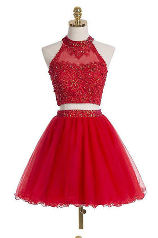 Two Pieces Scoop Halter Short Red Beaded Homecoming Dress with Appliques Sequins PM12