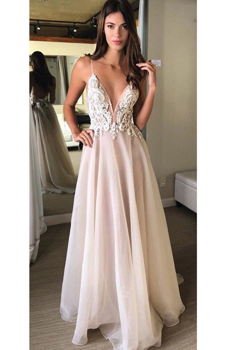A-Line V-Neck Spaghetti Straps Backless Beads Appliques Organza Sleeveless Prom Dresses UK PH317