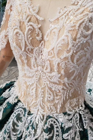 Green Long Sleeves Ball Gown Lace Prom Dress with Appliques, Long Quinceanera Dress P1137