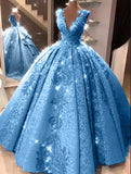 Ball Gown V Neck Floor Length Prom Dresses with Appliques, Quinceanera Dress P1433