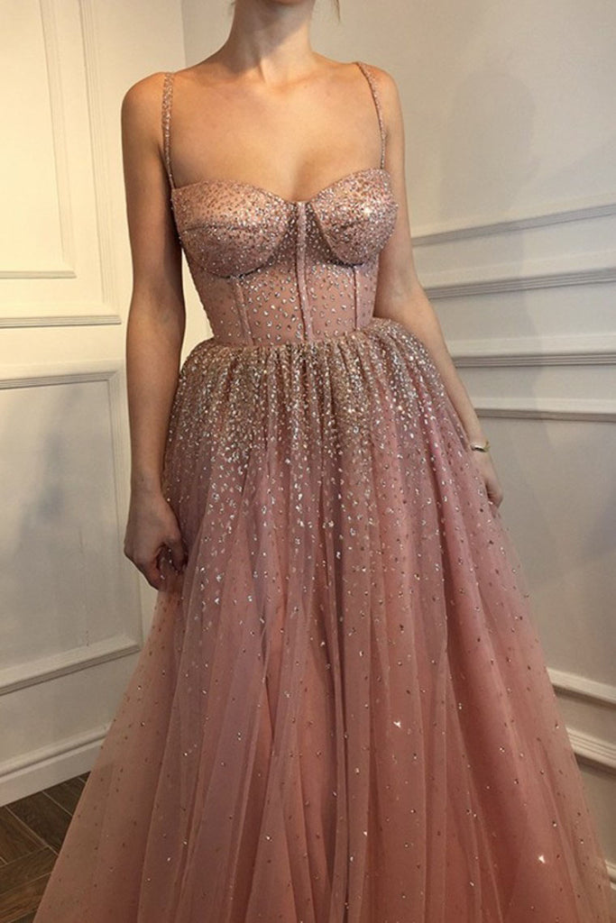Sexy A-Line Spaghetti Straps Rhinestone Tulle Sweetheart Evening Dresses Pink Formal Dresses P1302