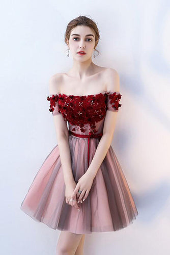 A Line Strapless Off the Shoulder Red Flowers Short Tulle Lace up Homecoming Dresses uk PH876