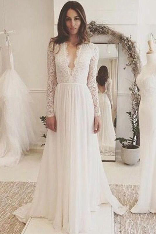 Off White Chiffon Open Back Long Sleeves Wedding Dress Simple A Line V Neck Lace Prom Dress Ph743