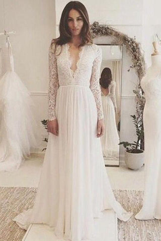 Off White Chiffon Open Back Long Sleeves Wedding Dress,Simple A Line V Neck Lace Prom Dress PH743