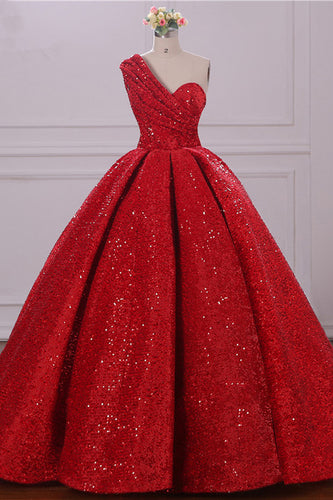 Ball Gown One Shoulder Sequins Red Sweetheart Prom Dresses,Quinceanera Dresses uk PW39