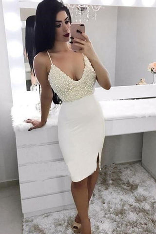 Mermaid Spaghetti Straps V Neck Ivory Beads Short Prom Dress, Homecoming Dresses uk PH855