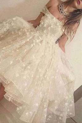 Off the shoulder Handmade Short Prom Dress Homecoming Dress PM705