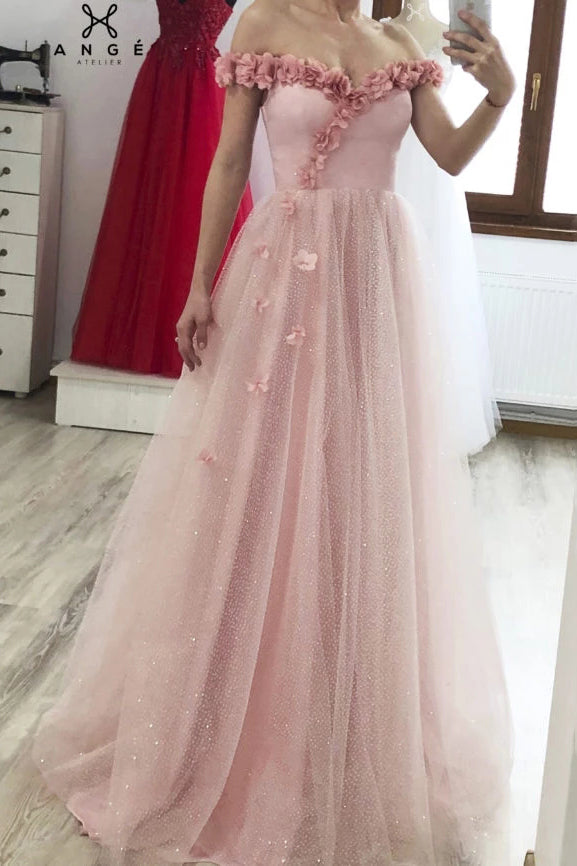 Princess A-line 3D Flowers Off the Shoulder Tulle Glitter Long Prom Dresses, Sweetheart Dance Dress P1300