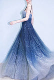 Elegant A Line Royal Blue Straps Floor Length Prom Dresses, Ombre Dance Dresses P1237