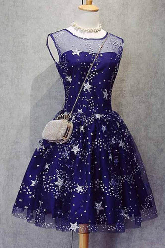 A Line Knee Length Beading Royal Blue Homecoming Dresses,Short Bling Prom Dresses PH627