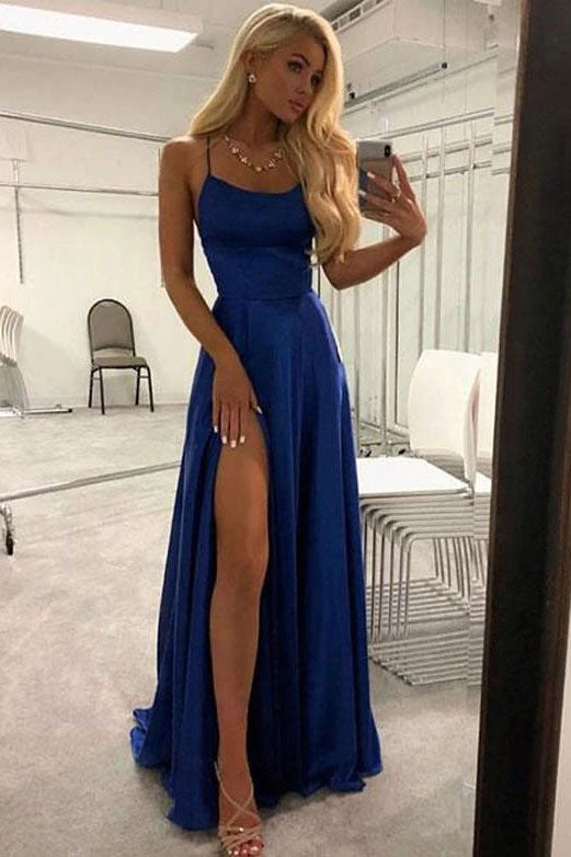 Unique A Line Red Spaghetti Straps Satin Prom Dresses, Long Cheap Evening Dresses P1532