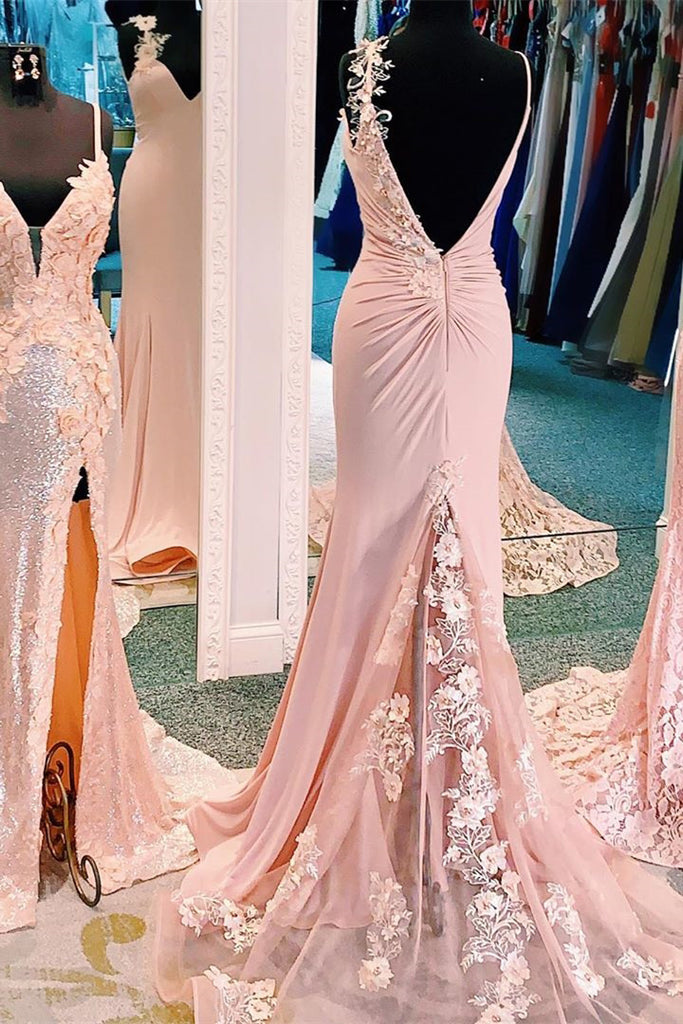 Unique Mermaid V Neck Spaghetti Straps Pink Prom Dresses, Cheap Party Dress P1432