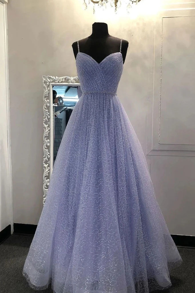 Sparkly A Line Lavender Spaghetti Straps Prom Dresses, Tulle Sweetheart Evening Dresses P1571