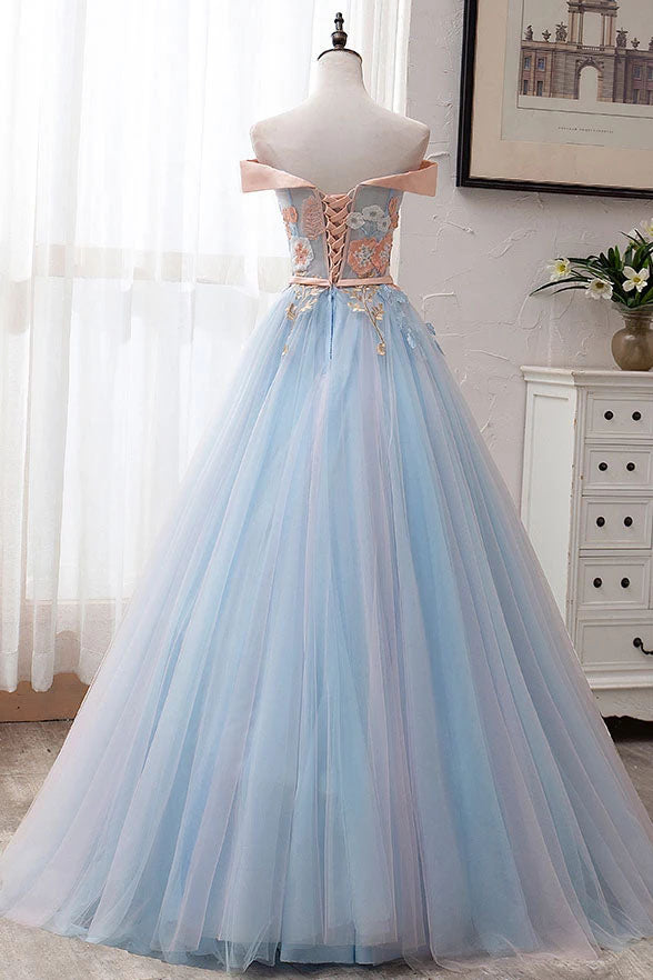 Ball Gown Off the Shoulder Tulle Sweetheart Appliques Prom Dresses, Quinceanera Dresses P1206