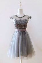 A Line Gray Cap Sleeves Lace up Appliques Tulle Scoop Short Homecoming Dresses uk PH882
