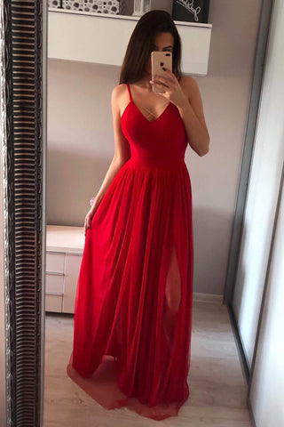 A Line Spaghetti Straps Red See Through Long Silver Simple Tulle Prom Dresses uk with Slit PW96