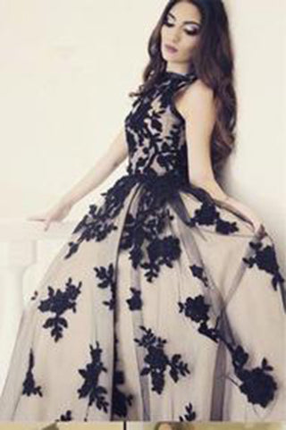 New Arrival A-Line Round Neck Black Lace Long Prom Dress,9052