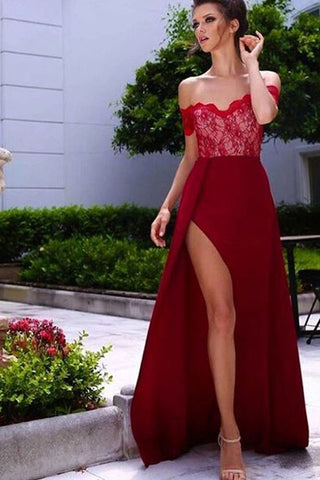 Burgundy A-Line Off-the-Shoulder Sleeveless Sweetheart High Side Split Lace Long Prom Dresses UK PH283