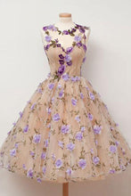 Cute A Line Round Neck Short Tulle Open Back Purple Flowers Homecoming Dresses PH787