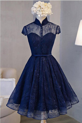 A Line Navy Blue Short High Neck Lace Open Back Cap Sleeve Mini Lace-up Homecoming Dresses PH588