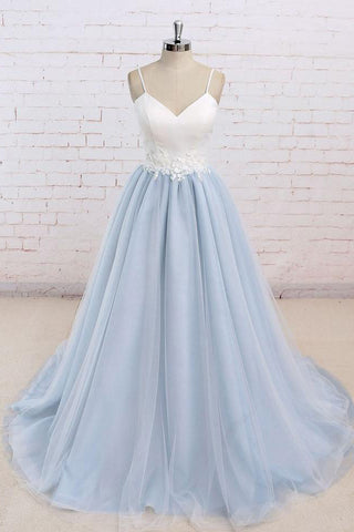 Simple A-Line Light Blue Sweetheart Spaghetti Straps Chic Blue Tulle Backless Prom Dresses uk PH187