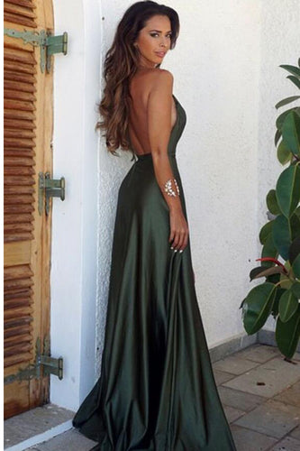 Elegant Simple Sexy Backless High Split Long V-Neck Open Back Green Prom Dresses uk PH437