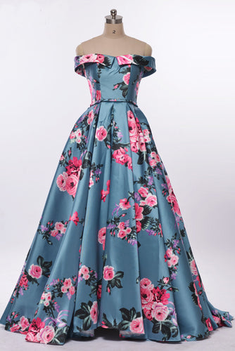 Elegant A-Line Off the Shoulder Sweetheart Lace up Satin with Flowers Prom Dresses UK PH514