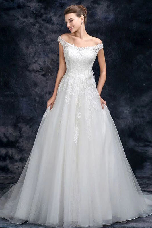 Off the Shoulder Tulle Wedding Dress with Lace Appliques, A Line Long Bridal Dresses W1138