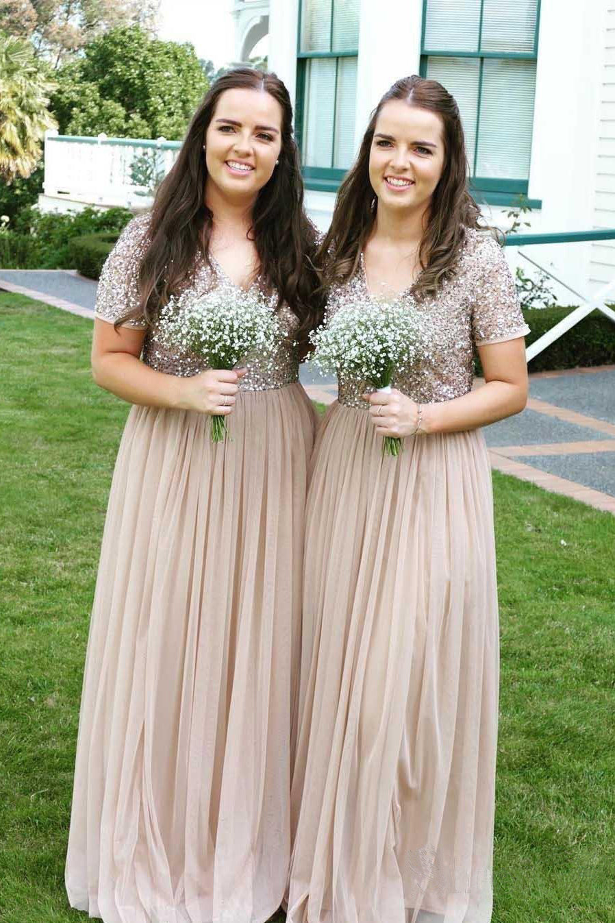 A Line Long Cheap Chiffon V Neck Beads Sparkly Short Sleeve Bridesmaid Dresses uk PW284