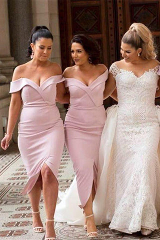 Mermaid Pink Off the Shoulder Sweetheart Prom Dresses, Long Bridesmaid Dresses PW915