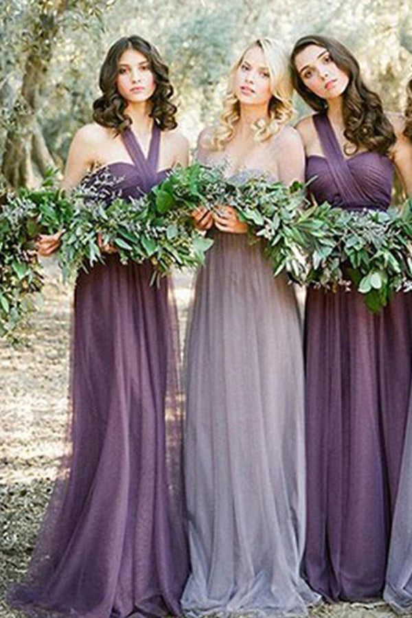 Convertiable Mismatched Tulle Long Elegant Cheap Charming Bridesmaid Dresses PH670