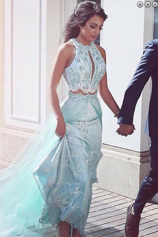 A-Line Two Pieces Sheath Round Neck Blue Tulle Prom Dresses uk with Lace Sequins Overskirt PH265