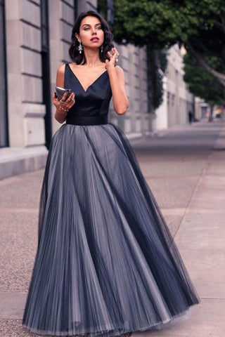 A-Line V-Neck Sleeveless Tulle Backless Navy Blue Floor Length Evening Prom Dresses UK PH460