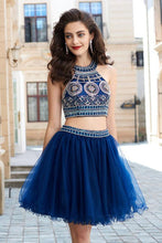 A-Line Dark Navy Princess Jewel Sleeveless Beading Short Mini Tulle Homecoming Dress PM290