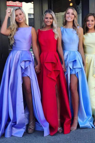 Cheap Long Scoop Simple Ruffled Slit Prom Dresses, Satin Formal Dresses UKPW435