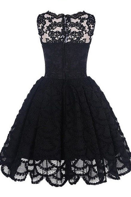 A-Line Scalloped-Edge Sleeveless Vintage Black Lace Appliques Prom Dresses uk PM869
