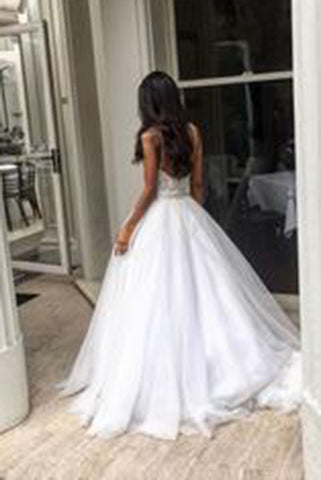 Elegant Sweep Train Backless Wedding Dress Lace Top Spaghetti Straps Bridal Dresses PW280