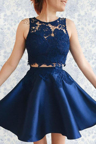Two Piece Dark Blue Satin Cute Short A-Line Homecoming Dress with Lace Appliques PM130