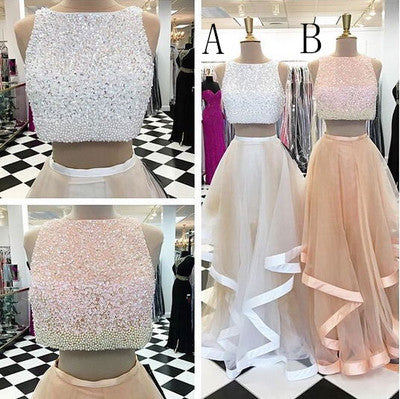 Pretty Two Pieces Beading Tulle Prom Dresses Beads Prom Gowns,Cheap Prom Dress PW545
