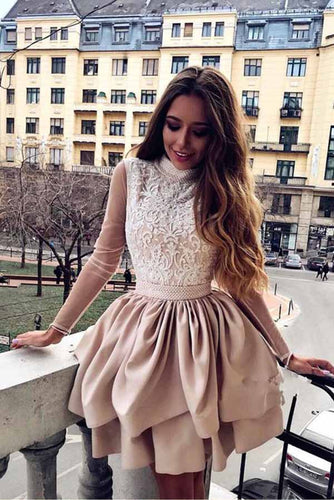 A Line High Neck Long Sleeve Pleats Open Back Satin Short Homecoming Dresses uk with Lace PW07