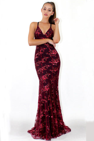 Fashion Spaghetti Straps Burgundy Sequin Mermaid Backless Deep V Neck Prom Dresses uk PH892