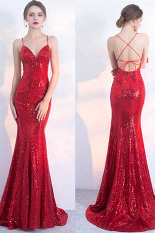 Sexy V-Neck Red Mermaid Spaghetti Straps Sparkly Backless Sleeveless Sequins Evening Dresses uk PH242