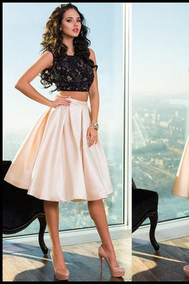 Gorgeous Two Piece Black Lace Open Back Short Cute Sweet 16 Dress Homecoming Dress PM245