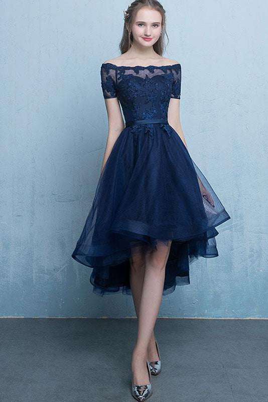 0c407132525 Dark Blue Lace Tulle Short Sleeve High Low Round Neck A-Line Short Prom  Dresses