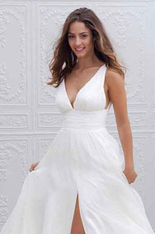 White Long A-Line Chiffon Deep V-Neck Sleeveless Side Split V-Back Wedding Dresses PH387