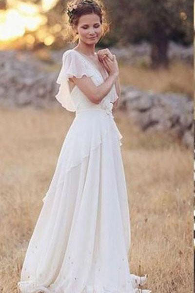 Elegant A-Line Ivory Flower Cap Sleeve V-Neck Chiffon Open Back Wedding Dresses UK PH376